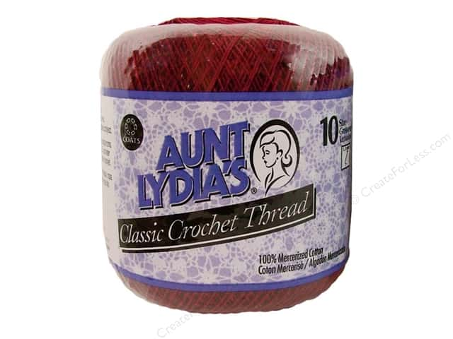 Aunt Lydia's Classic Cotton Crochet Thread Size 10 350 yd. Burgundy