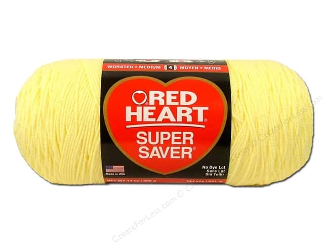Red Heart Super Saver Jumbo Yarn #0322 Pale Yellow 14 oz.