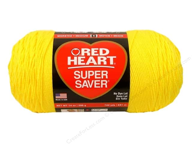 Red Heart Super Saver Jumbo Yarn #0324 Bright Yellow 744 yd.