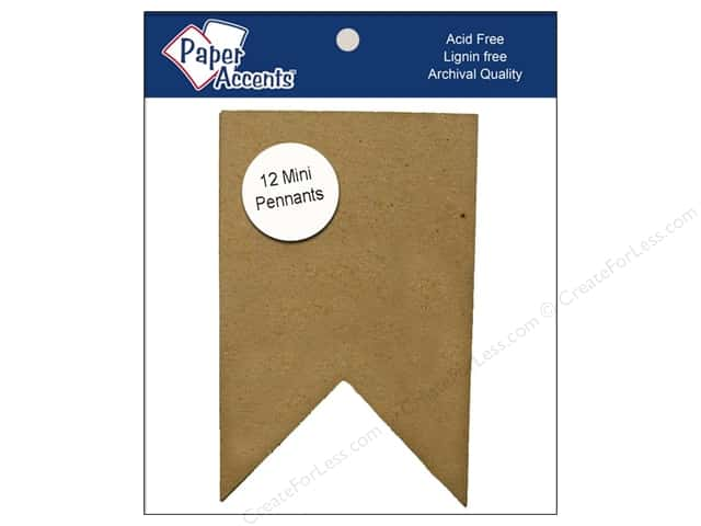 Paper Accents Chipboard Pennants 2 1/2 x 4 in. Mini Two Point 12 pc. Kraft