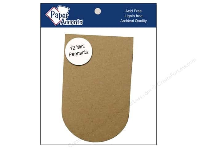 Paper Accents Chipboard Pennants 2 1/2 x 4 in. Mini Arched 12 pc. Kraft