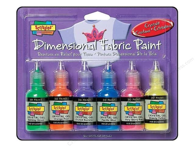 Scribbles Dimensional Fabric Paint Set Crystals 6pc