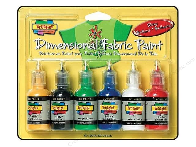 Scribbles Dimensional Fabric Paint Set Shiny 6pc