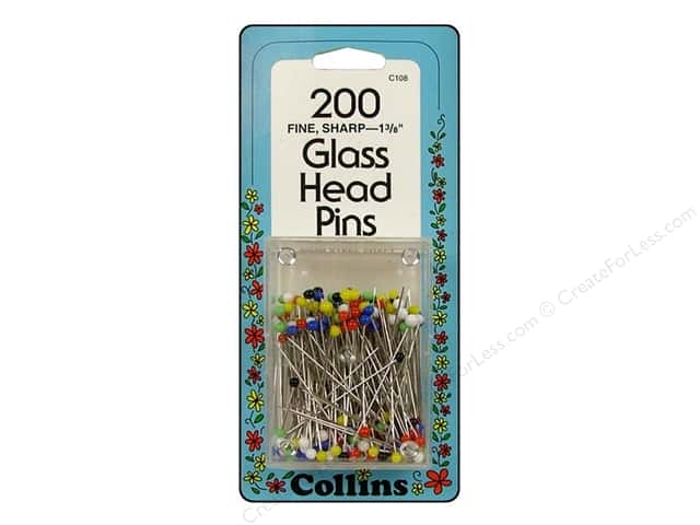 "Collins Pins Glass Head 1 3/8"" 200pc"