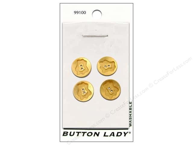 "JHB Button Lady Buttons Matte Gold 1/2"" 4pc"