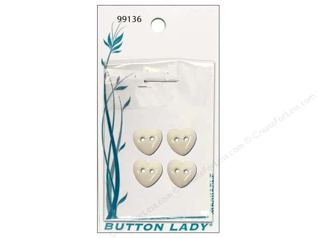 JHB Button Lady Buttons 1/2 in. White Heart #99136 4 pc.