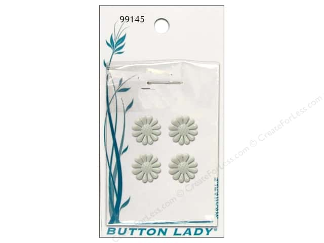JHB Button Lady Buttons 1/2 in. White Flower #99145 4 pc.