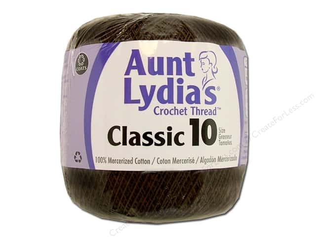 Aunt Lydia's Classic Cotton Crochet Thread Size 10 Fudge Brown