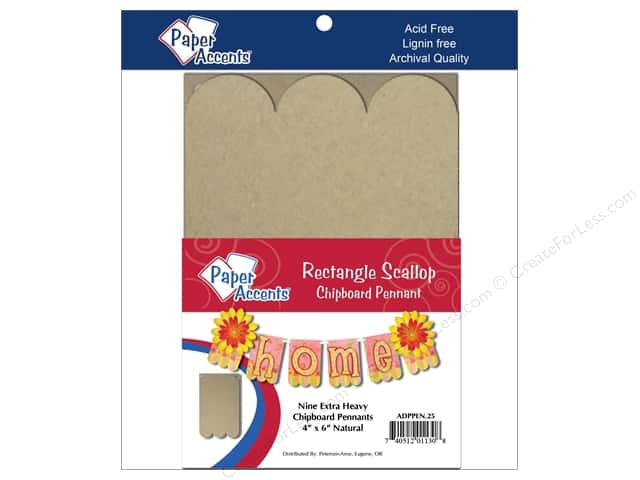 Paper Accents Chipboard Pennants 4 x 6 in. Scallop Rectangle 9 pc. Kraft