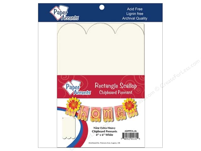 Paper Accents Chipboard Pennants 4 x 6 in. Scallop Rectangle 9 pc. White