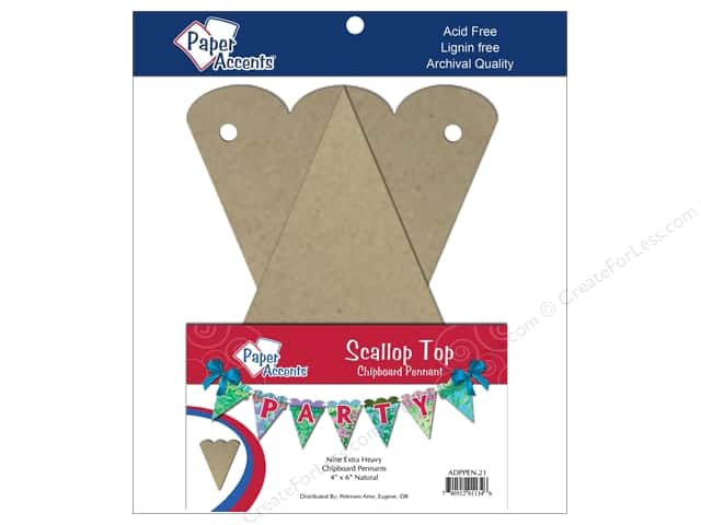 Paper Accents Chipboard Pennants 4 x 6 in. Scalloped Top 9 pc. Kraft