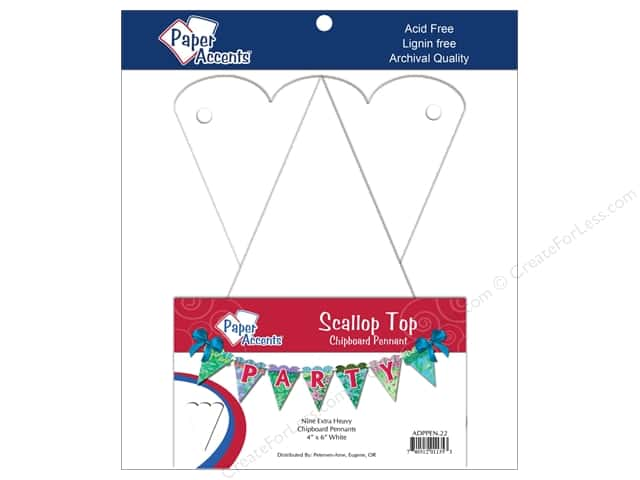 "Paper Accents Chipboard Pennants Scalloped Top 4""x 6"" White 9pc"