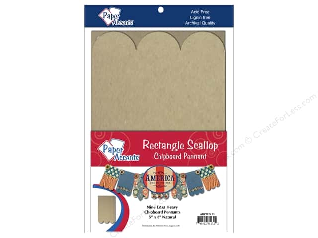"Paper Accents Chipboard Pennants Rectangle Scallop 5""x 8"" Natural 9pc"