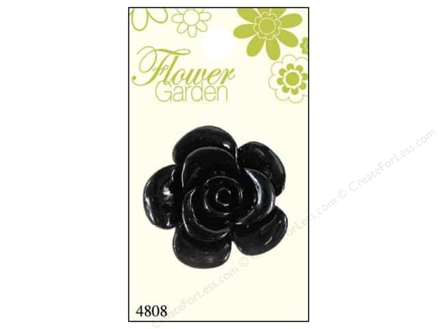 Blumenthal Button Flower Garden Rose Shiny Black 1pc