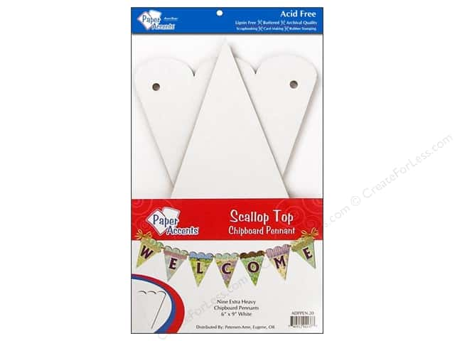 Paper Accents Chipboard Pennants 6 x 9 in. Scalloped Top 9 pc. White