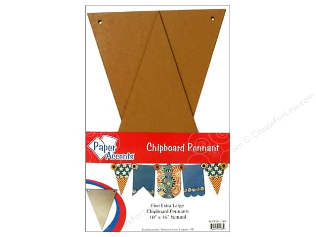 "Paper Accents Chipboard Pennants 10""x 16"" Extra Large Natural 5pc"