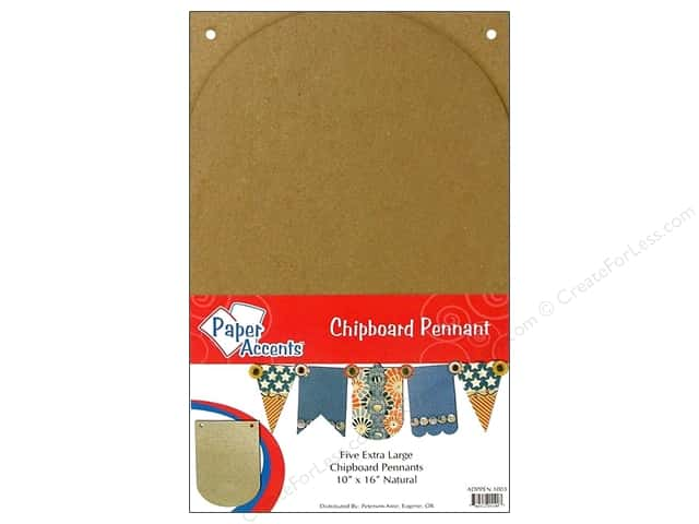 Paper Accents Chipboard Pennants 10 x 16 in. Arched 5 pc. Kraft
