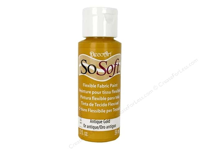 DecoArt SoSoft Fabric Paint 2 oz. Antique Gold