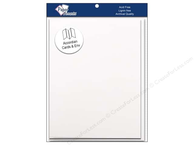 "Paper Accents Card & Envelopes Accordion 5""x 7"" White 5pc"