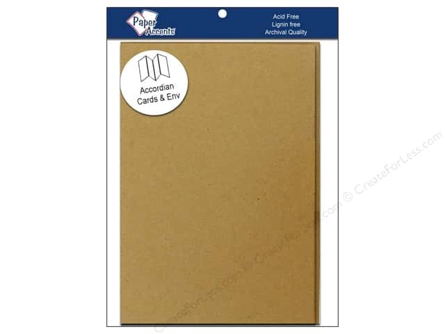 "Paper Accents Card & Envelopes Accordion 5""x 7"" Brown Bag 5pc- 100% Recycled paper."