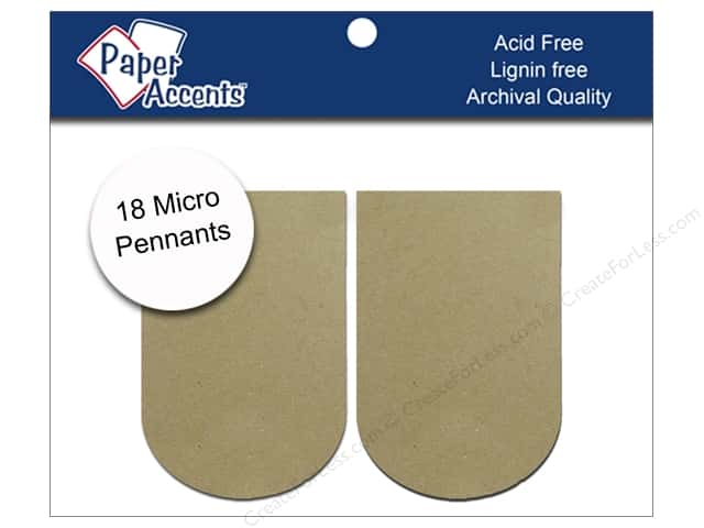 "Paper Accents Chipboard Pennants Arched 1.25""x 2"" Micro Natural 18pc"