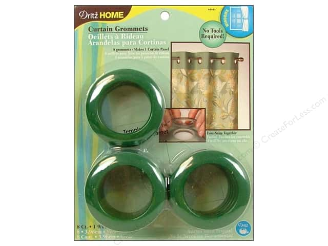 Dritz Home Curtain Grommets Large 1 9/16 in. Round Green 8pc