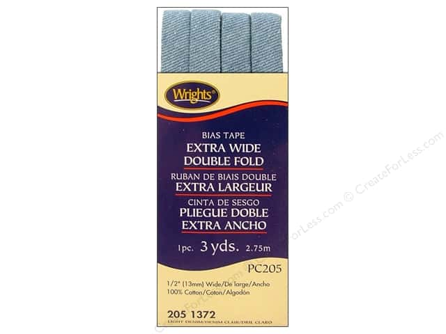 Wrights Extra Wide Double Fold Bias Tape Light Denim 3 yd.