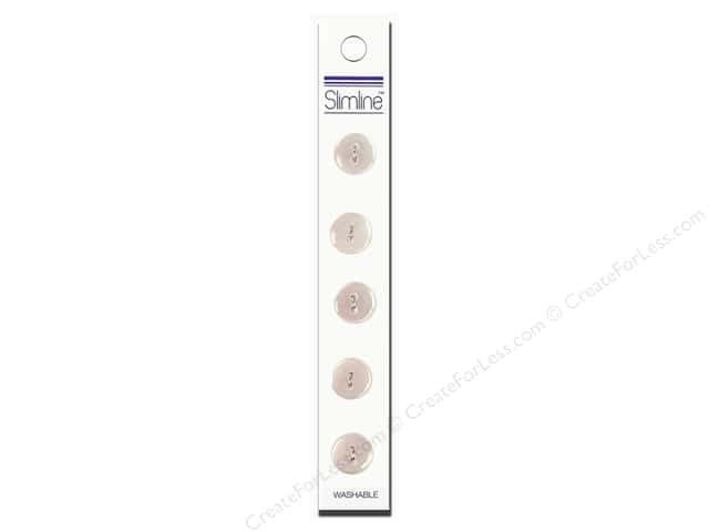 "Slimline Buttons 1/2"" White 5pc"