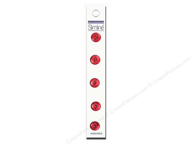"Slimline Buttons 7/16"" Wine 5pc"
