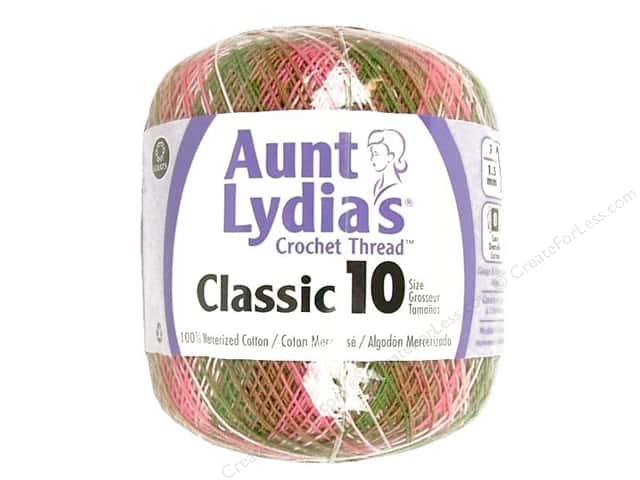 Aunt Lydia's Classic Cotton Crochet Thread Size 10 Pink Camo