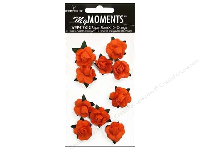 My Moments Embellishment Flower Paper Mini Roses Orange (3 packages)