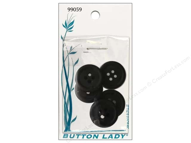 JHB Button Lady Buttons 3/4 in. Black #99059 5 pc.