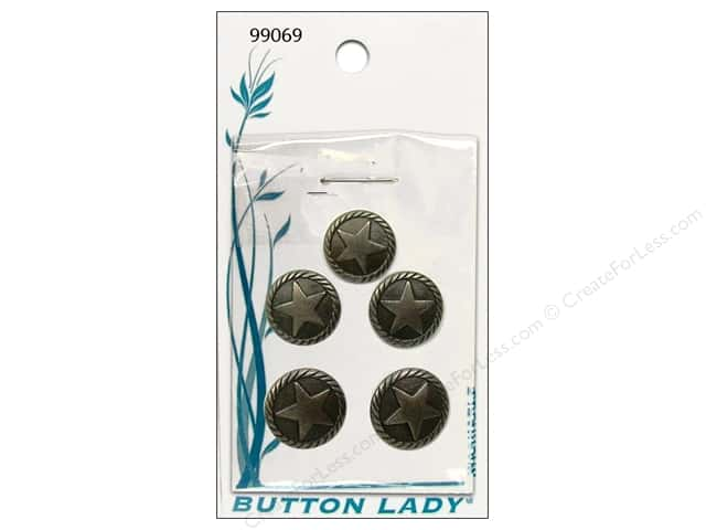 JHB Button Lady Buttons 1/2 in. Antique Silver Star #99069 5 pc.