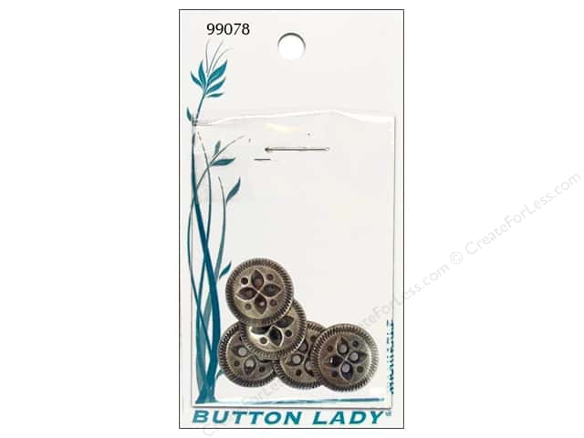 JHB Button Lady Buttons 5/8 in. Antique Silver #99078 5 pc.
