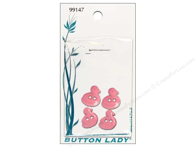 JHB Button Lady Buttons 1/2 in. Pink Duck #99147 4 pc.