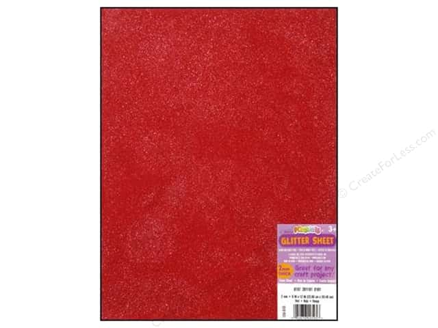 "Darice Foamies Sheet 9""x 12"" Glitter Red"