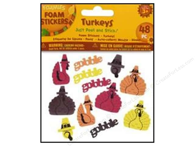Darice Foamies Sticker Fall Turkeys 48pc