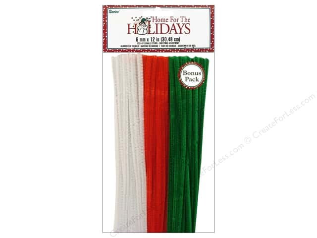 "Darice Chenille Stems 6mm 12"" Christmas Assorted 100pc"
