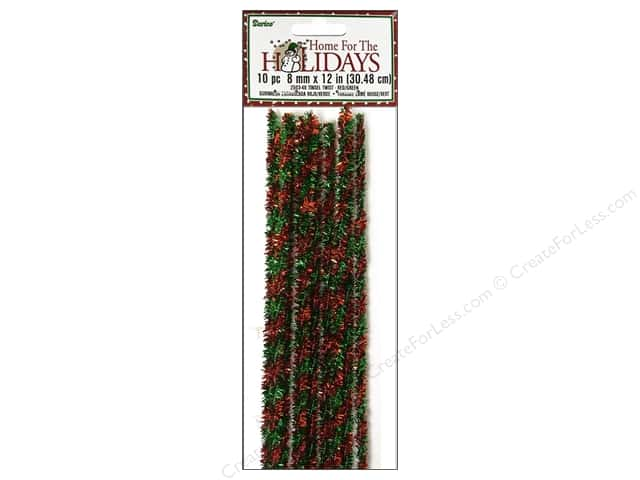 "Darice Chenille Stems 8mm 12"" Tinsel Twist Red/Green 10pc"