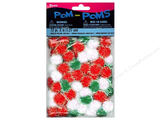 Darice Pom Poms 1/2 in. (19 mm) Christmas Iridescent Multicolor 72 pc.