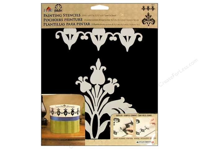 Plaid Stencil Folkart Painting Damask 2pc
