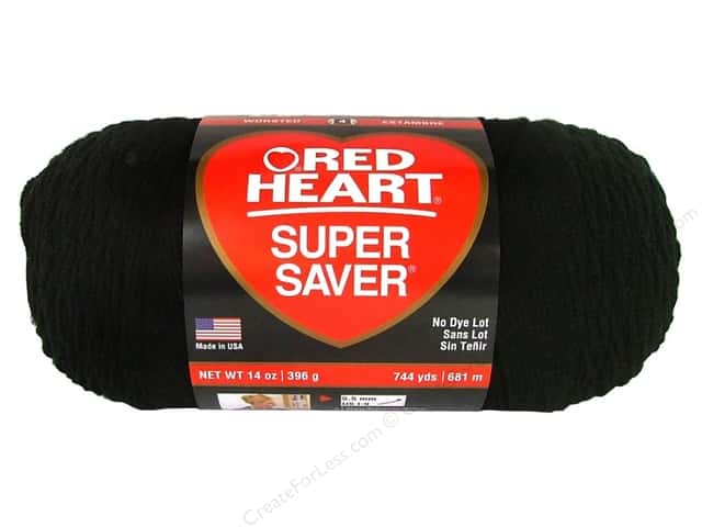 Red Heart Super Saver Jumbo Yarn #312 Black 14 oz.