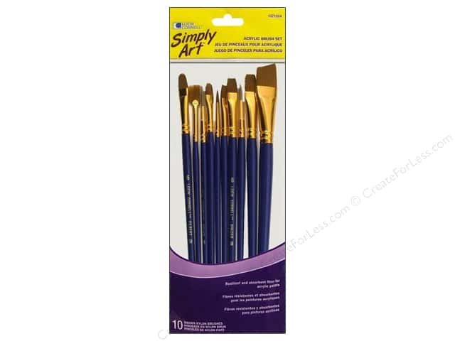 Loew Cornell Simply Art Brush Set Acrylic 10pc