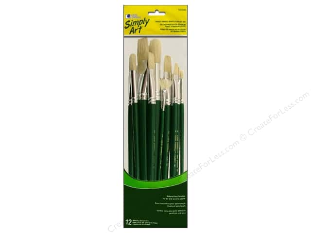 Loew Cornell Simply Art Brush Bristle Oil Short Handle 12pc