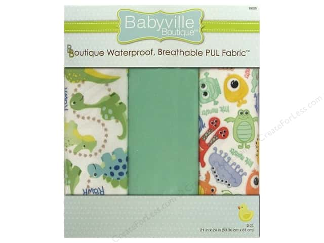 Dritz Babyville Boutique PUL Fabric 3 pc. Dinos & Monsters