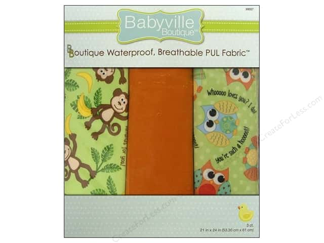 Dritz Babyville Boutique PUL Fabric 3 pc. Friends Monkey & Hoot