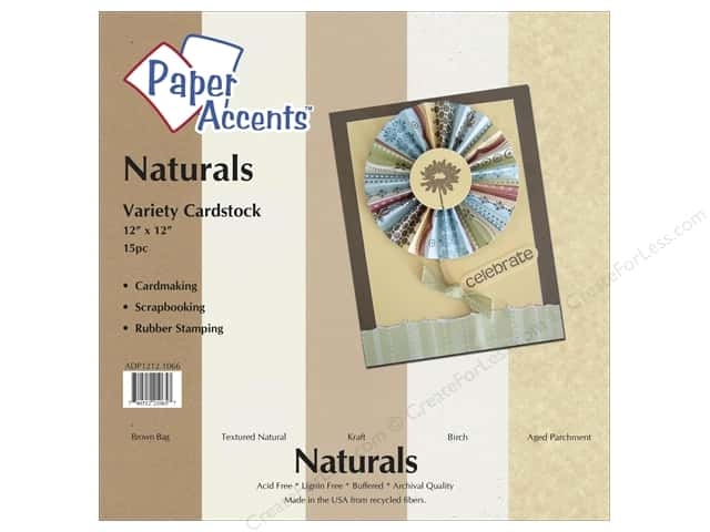 Cardstock Variety Pack 12 x 12 in. Naturals 15 pc. by Paper Accents
