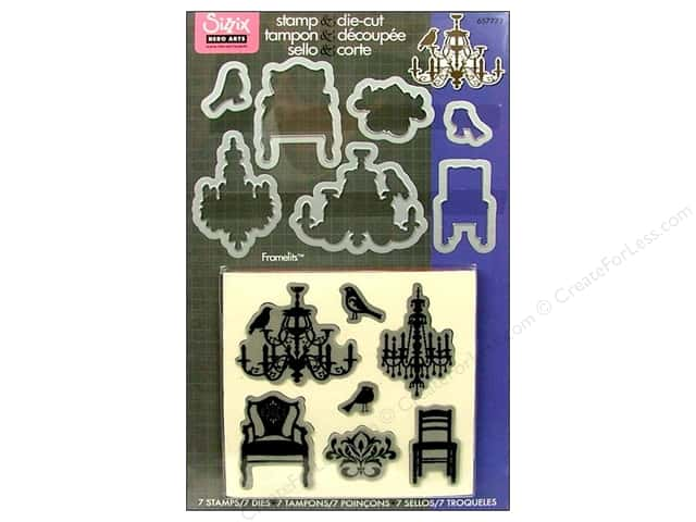 Sizzix Dies Framelits Set Hero Arts Stamp Chandeliers