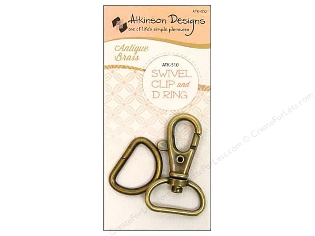 Atkinson Designs Swivel Clip And D Ring 3/4 in. Antique Brass