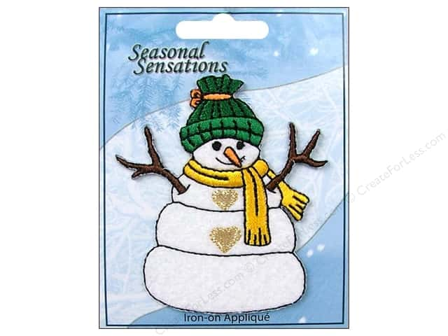 Expo Iron On Applique Snowman Green Cap